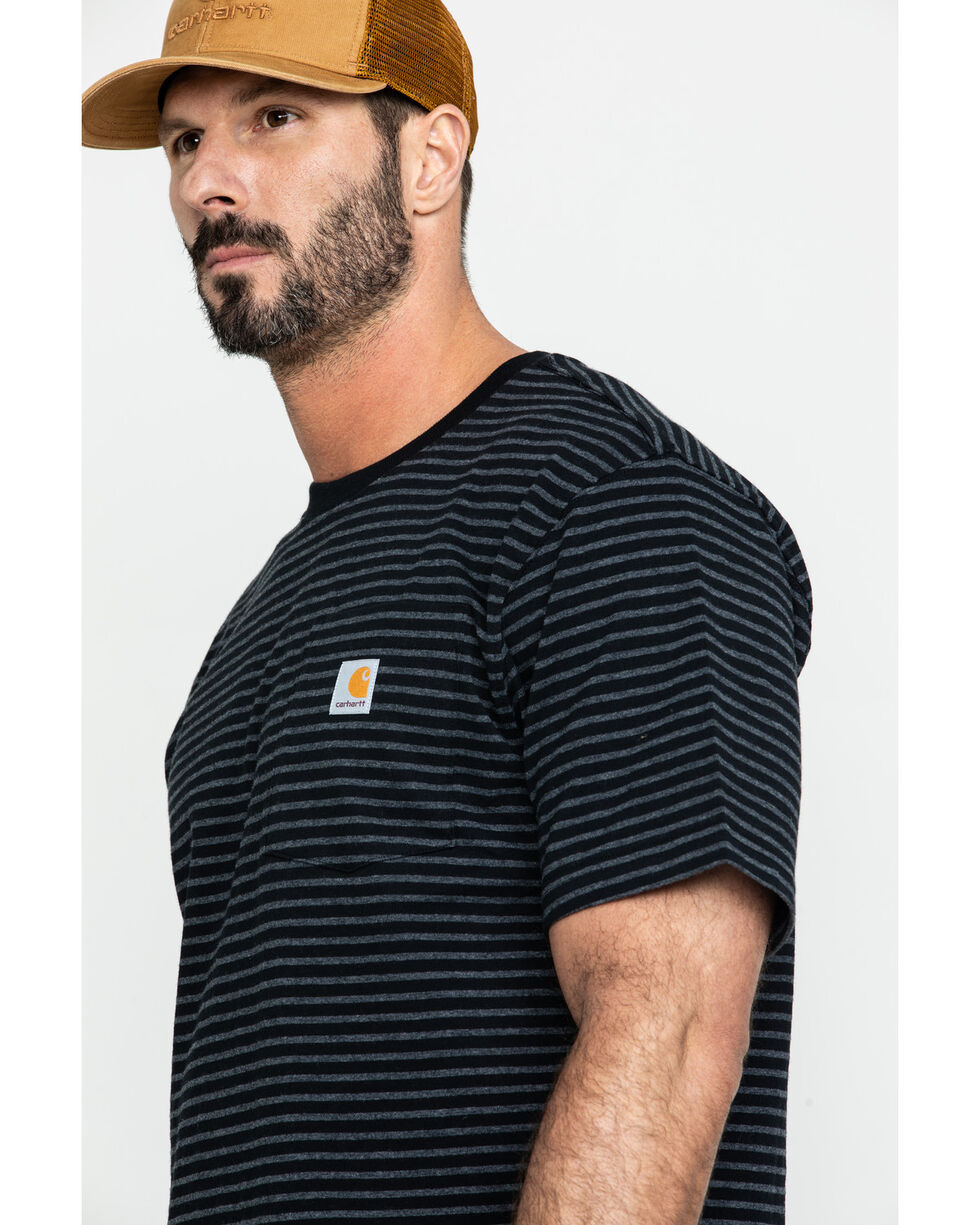 Carhartt Men's Striped Short Sleeve Work T-Shirt , Black, hi-res