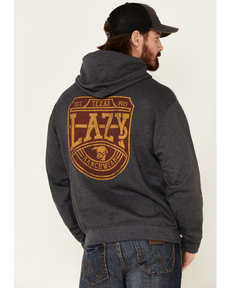 Lazy J Ranch Wear Men's Charcoal Word Plate Graphic Hooded Sweatshirt , Dark Grey, hi-res