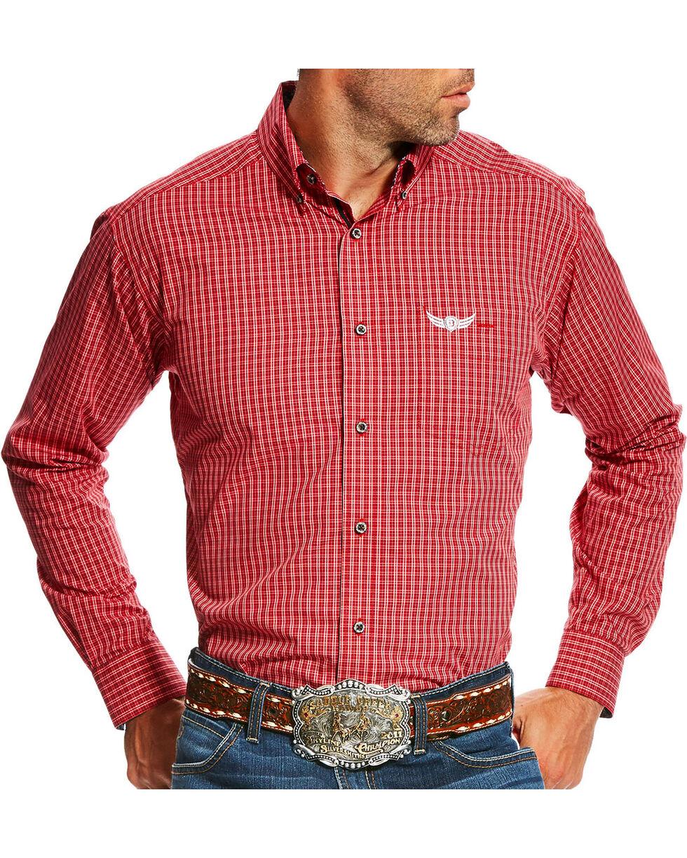 Ariat Men's Red Swift Print Long Sleeve Shirt , Red, hi-res