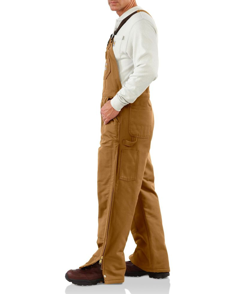 Carhartt Flame Resistant Quilt-Lined Duck Bib Work Overalls, Carhartt Brown, hi-res