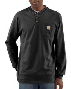 Carhartt Men's Solid Henley Long Sleeve Work Shirt, Black, hi-res