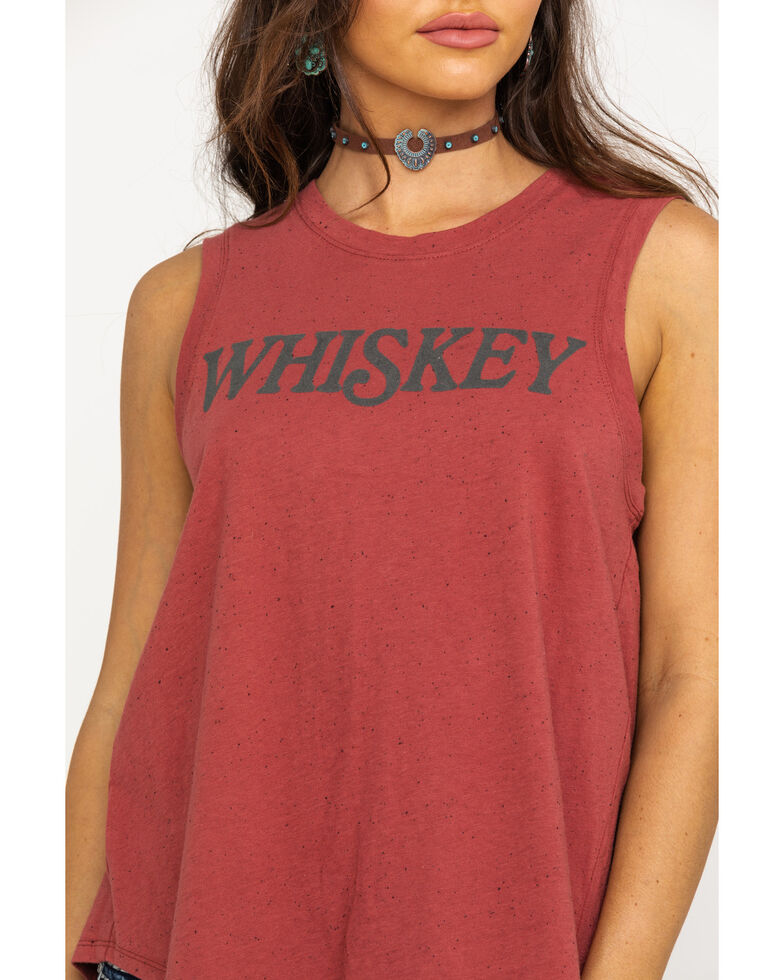 Shyanne Women's Rust Flocked Whiskey Tank Top, Rust Copper, hi-res