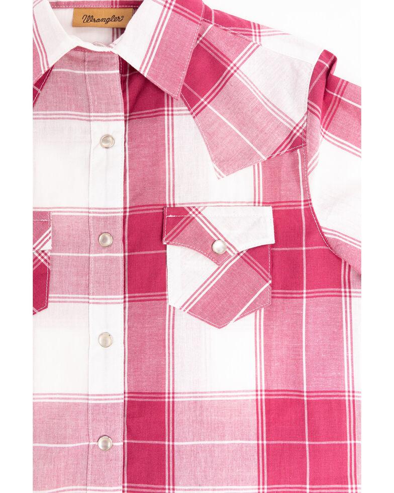 Wrangler Girls' Plaid Pearl Snap Long Sleeve Western Shirt, Red, hi-res