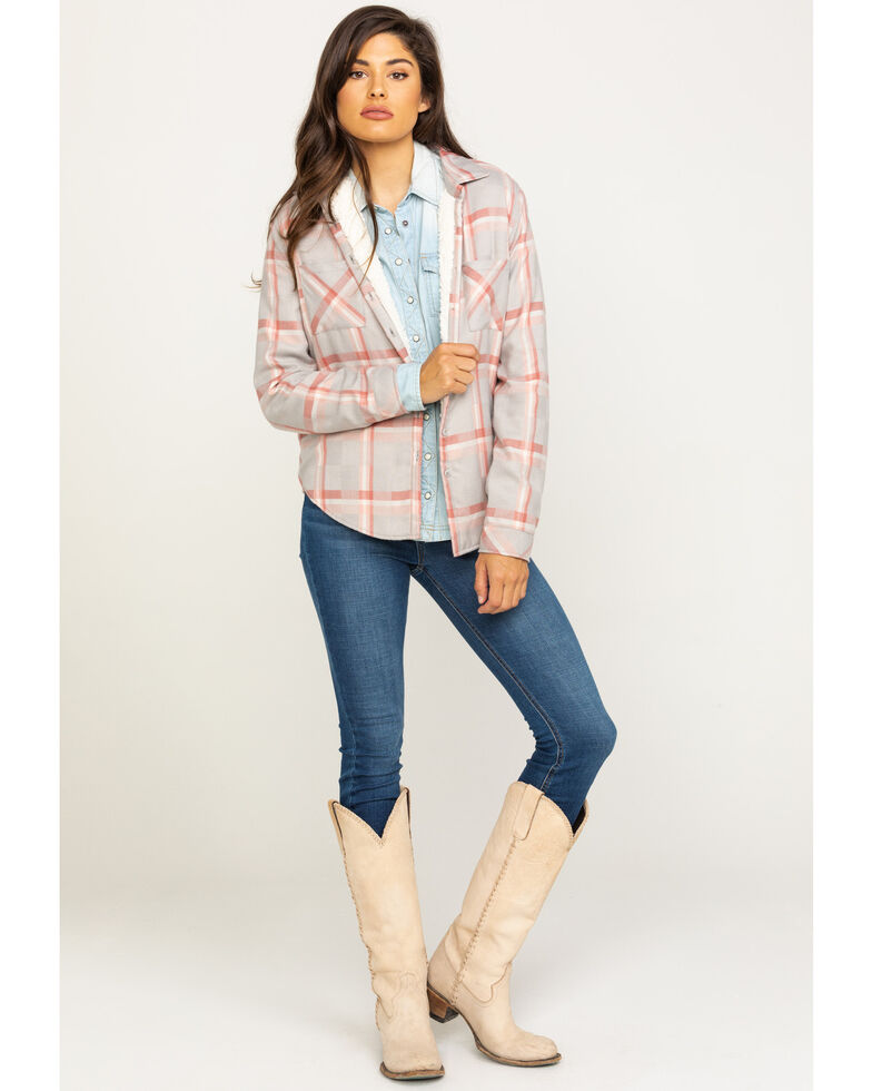 White Crow Women's Plaid Sherpa Lined Flannel Shirt, Grey, hi-res