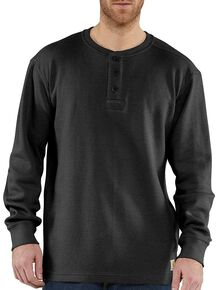 Carhartt Textured Knit Henley Long Sleeve Shirt - Big & Tall, Black, hi-res