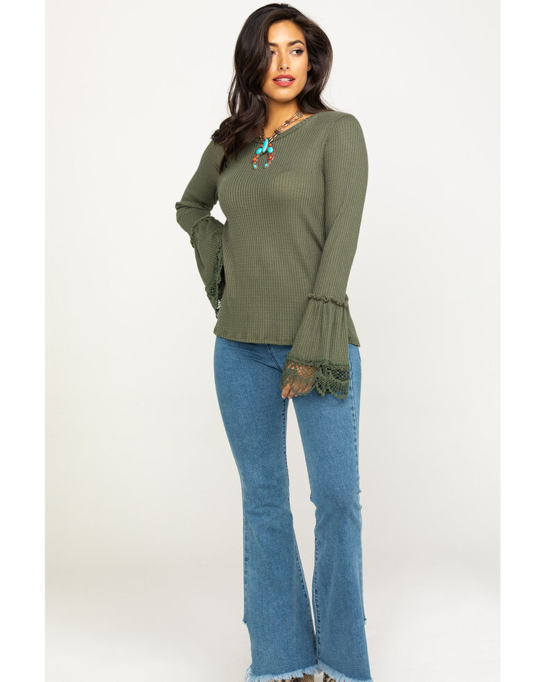 Moa Moa Women's Army Green Bell Sleeve Thermal, Olive, hi-res