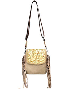 Montana West Women's Mabel Tooled Crossbody Bag, Tan, hi-res