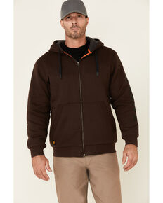 Hawx Men's Brown Martin Insulated Zip-Front Hooded Work Jacket , Brown, hi-res