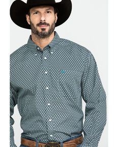 Cinch Men's Circle Geo Print Long Sleeve Western Shirt , Black, hi-res