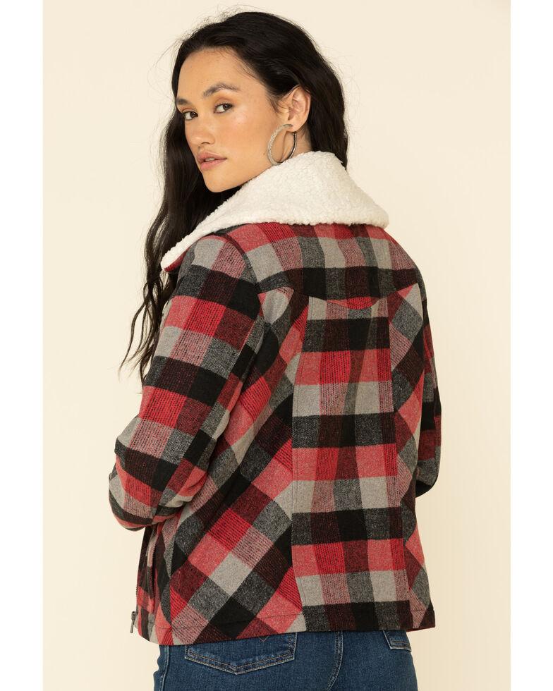 Cruel Girl Women's Plaid Sherpa Jacket , Red, hi-res