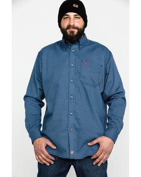 Ariat Men's Navy Dunbar Geometric Print Long Sleeve Shirt , Navy, hi-res