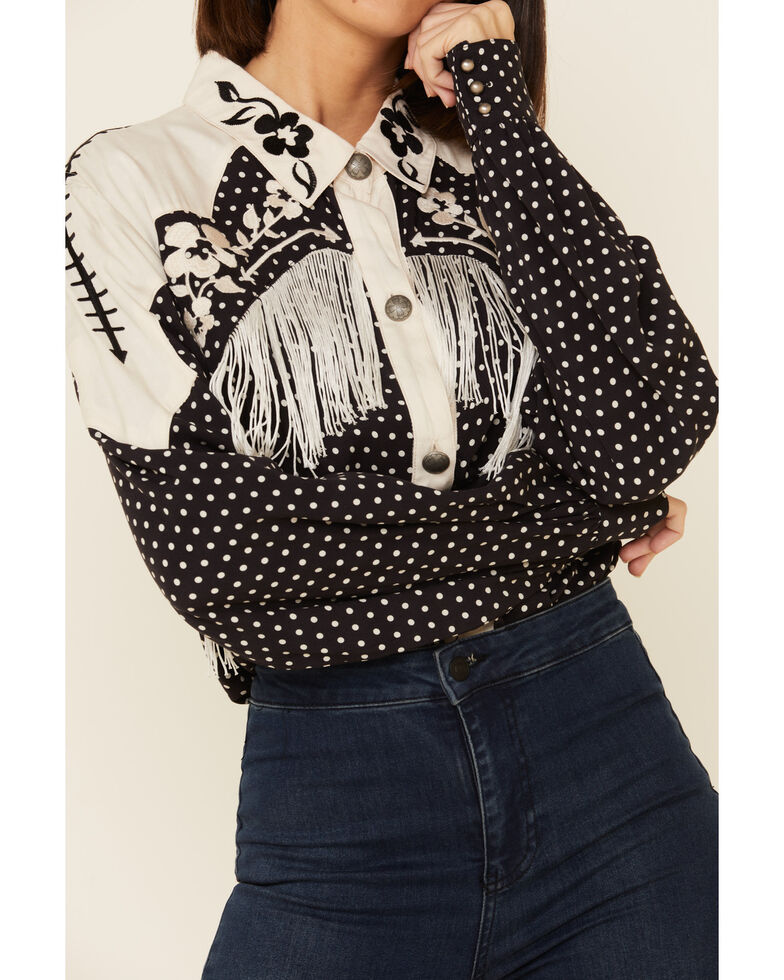 Double D Ranchwear Women's Mary Lou Embroidered Long Sleeve Western Top, Black, hi-res