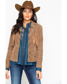 Cripple Creek Women's Fringe Blazer, Tan, hi-res