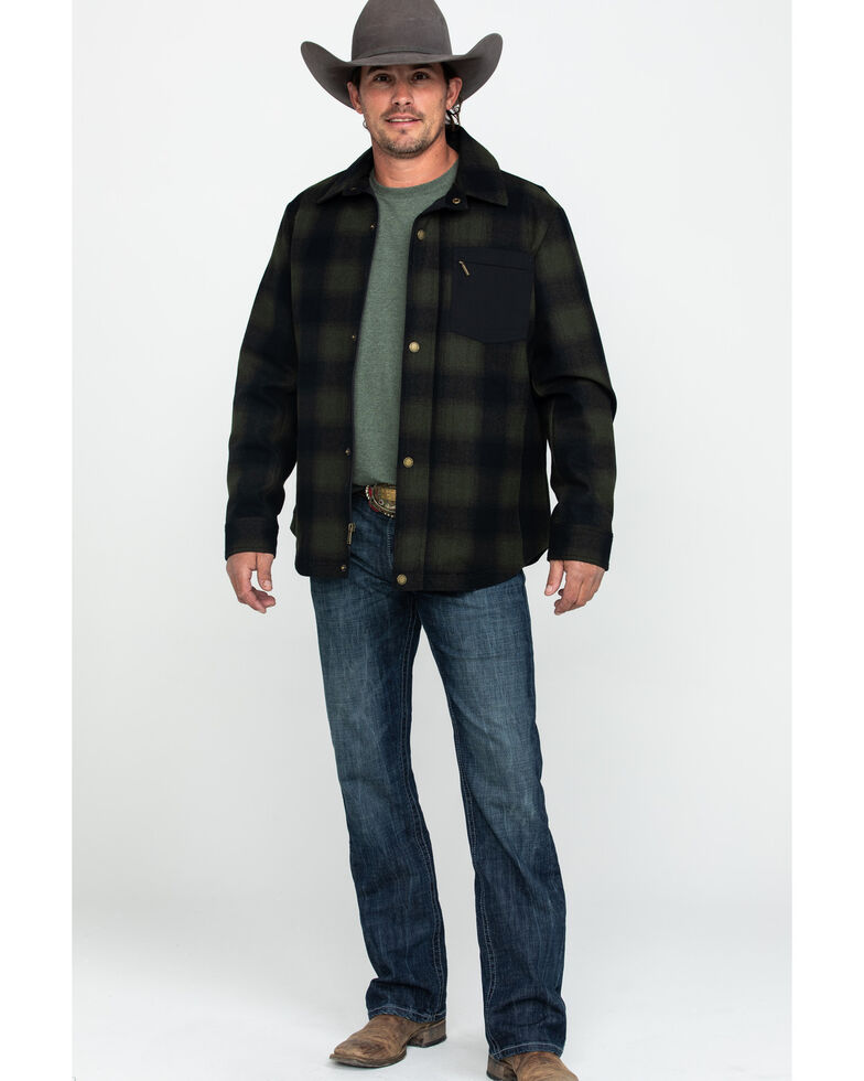 Pendleton Men's Conway Ombre Plaid Snap Front Jacket , Olive, hi-res