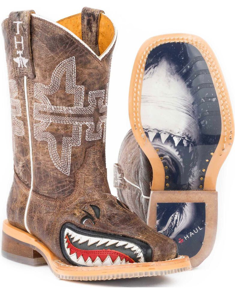 """Tin Haul Boys' Tan and Red 8"""" Leather Western Boots - Square Toe , Tan, hi-res"""
