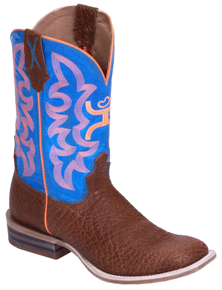 Hooey by Twisted X Men's Neon Blue Cowboy Boots - Wide Square Toe, Cognac, hi-res