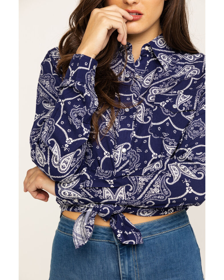 Wrangler Women's Paisley Print Snap Long Sleeve Western Shirt, Navy, hi-res