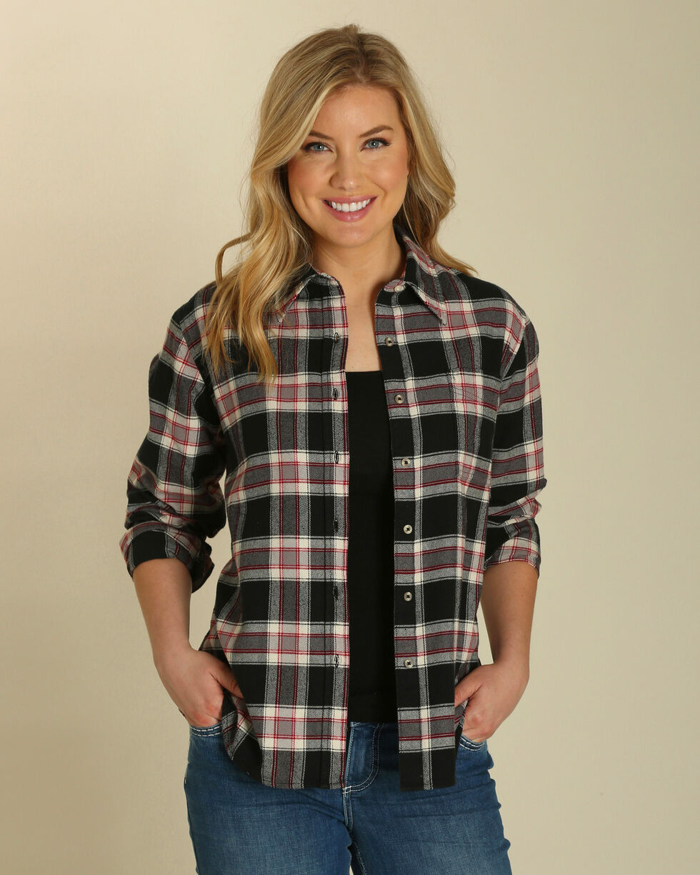 Wrangler Women's Plaid Boyfriend Fit Flannel Shirt, Black, hi-res