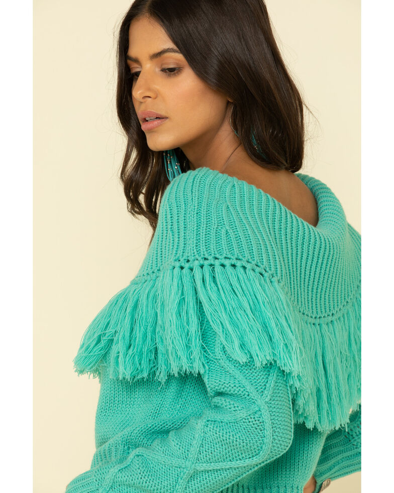 Rock & Roll Denim Women's Turquoise Off Shoulder Cable Knit Fringe Sweater , Turquoise, hi-res