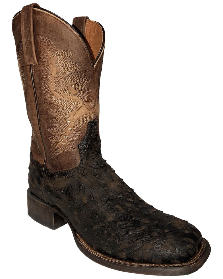 Dan Post Men's Ostrich Western Boots - Square Toe, Dark Brown, hi-res
