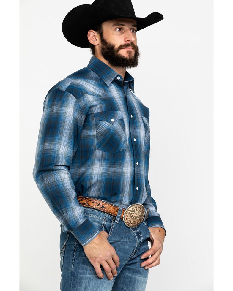 Rough Stock By Panhandle Men's Waterville Plaid Long Sleeve Western Shirt , Blue, hi-res