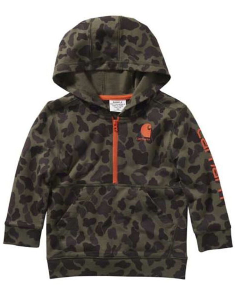 Carhartt Toddler Boys' Camo Logo Hooded 1/2 Zip Pullover Sweatshirt , Multi, hi-res