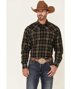 Stetson Men's Hunter Green Plaid Long Sleeve Snap Western Shirt , Grey, hi-res