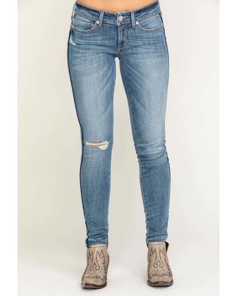 Ariat Women's Light Wash R.E.A.L. Ella Double Outseam Skinny Jeans, Blue, hi-res