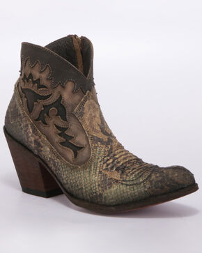 Liberty Black Women's Python Verde Western Booties - Medium Toe, Python, hi-res