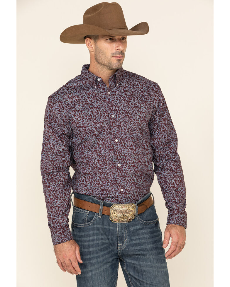 Cody James Core Men's Branched Out Small Floral Print Long Sleeve Western Shirt , Burgundy, hi-res