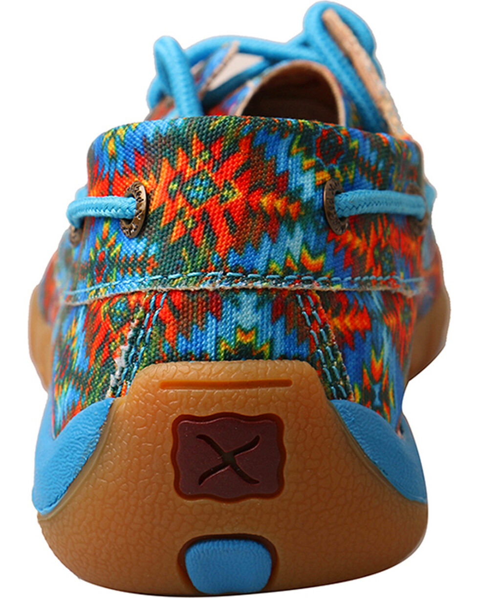 Twisted X Women's Multi Canvas Lace Up Driving Mocs - Moc Toe, Multi, hi-res