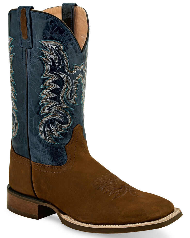 """Old West Men's 9"""" Brown Western Boots - Wide Square Toe, Brown, hi-res"""