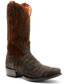 Dan Post Men's Dark Brown Caiman Belly Western Boots - Square Toe , Chocolate, hi-res