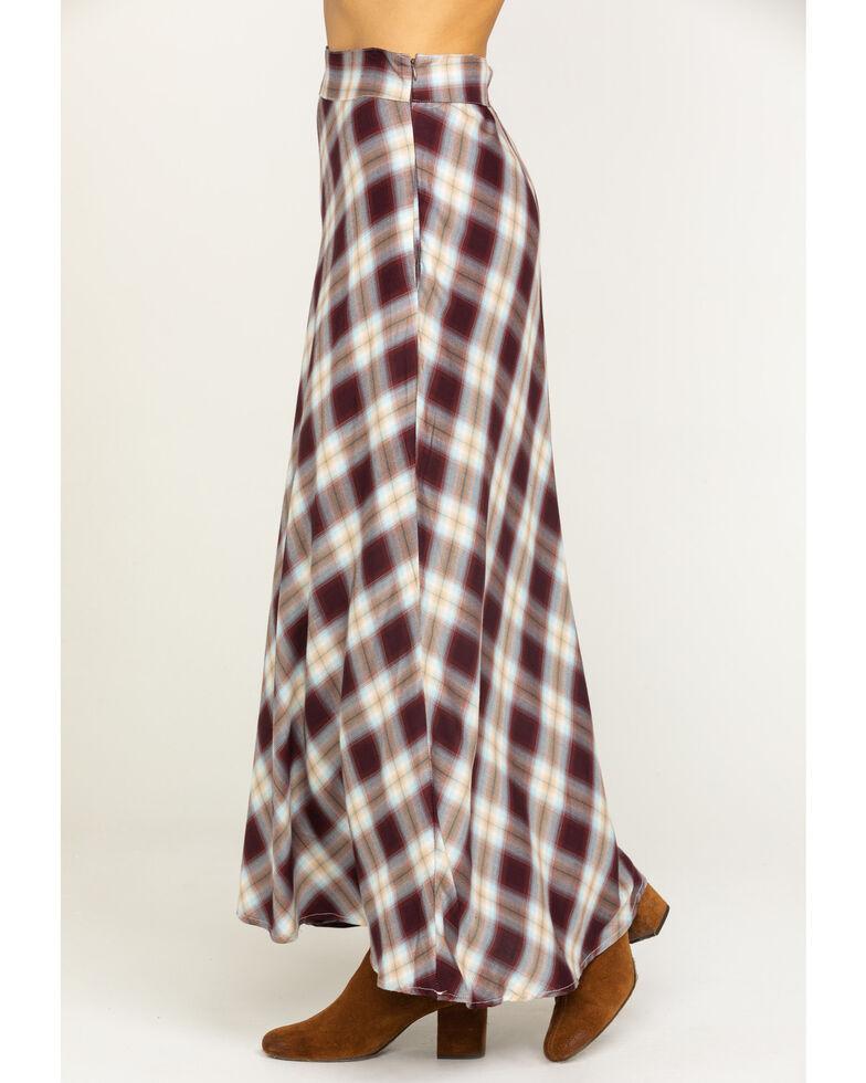 Stetson Women's Brown Plaid Maxi Skirt, Brown, hi-res