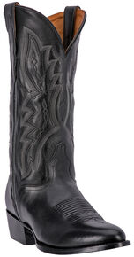 El Dorado Handmade Black Vanquished Calf Cowboy Boots - Medium Toe, Black, hi-res