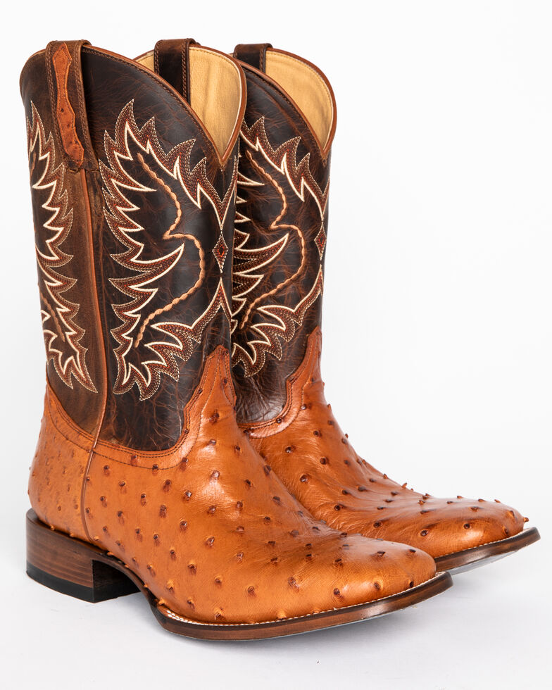 118675f578f Cody James Men's Full Quill Ostrich Exotic Boots - Square Toe