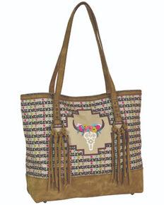 Catchfly Women's Floral Cow Skull Tote Bag, Brown, hi-res