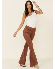 Rock & Roll Denim Women's Faux Suede Bell Bottom Jeans, Tan, hi-res