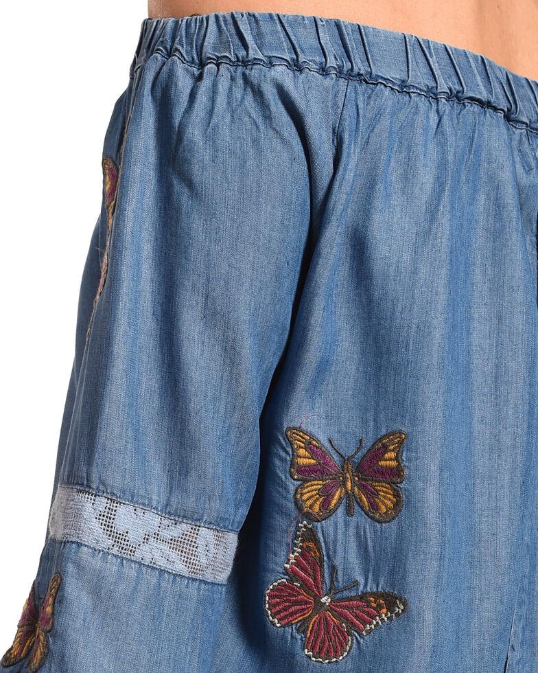 Billy T Women's Blue Off The Shoulder Butterfly Dress , Blue, hi-res