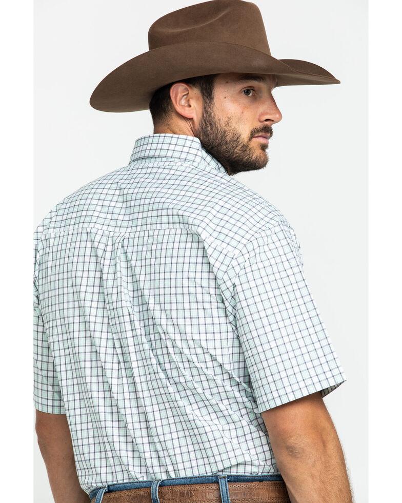 George Strait By Wrangler Men's Mint Small Plaid Short Sleeve Western Shirt - Big , Light Green, hi-res