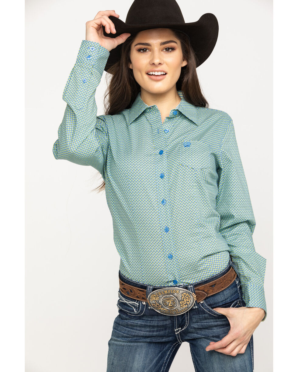 Cinch Women's Blue Print Button Down Long Sleeve Western Shirt , Light Blue, hi-res