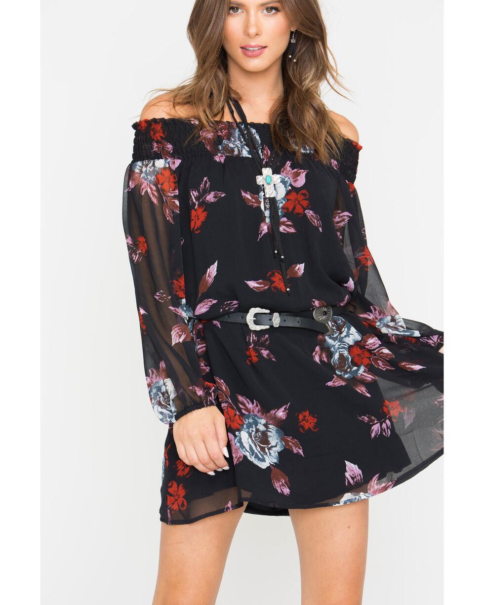 Shyanne Black Off-Shoulder Belted Dress  , Black, hi-res