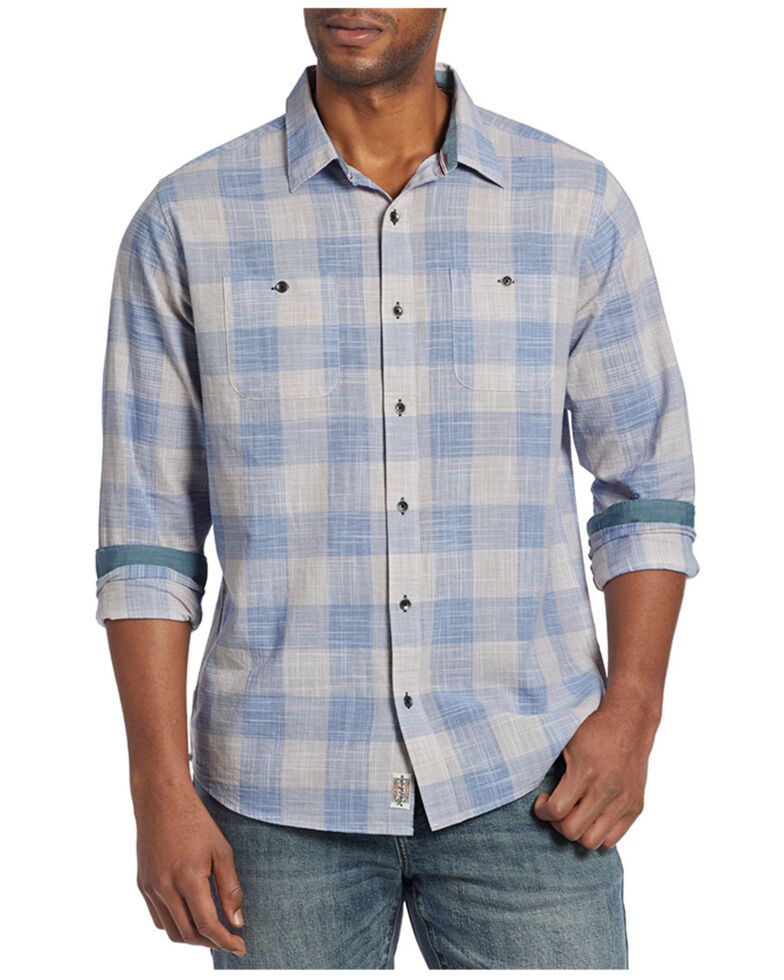 Flag & Anthem Men's Blue Portola Plaid Long Sleeve Button-Down Western Shirt , Blue, hi-res
