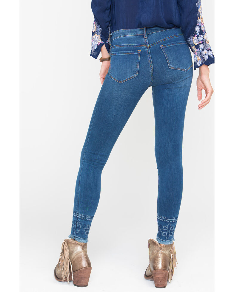 Tractr Blu Women's Embroidered Fray Hem Skinny Jeans , Indigo, hi-res