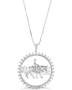 Kelly Herd Women's Stone Circle Ranch Horse Pendant Necklace , Silver, hi-res