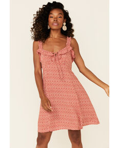 Angie Women's Rust Ditsy Ruffle Strap Dress, Rust Copper, hi-res