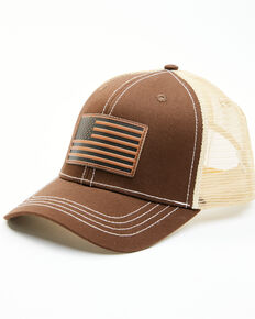 Cody James Men's Brown Leather Flag Patch Mesh-Back Ball Cap , Brown, hi-res