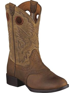 Ariat Boys' Heritage Stockman Boots - Round Toe, Brown, hi-res