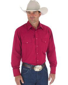 Wrangler Men's Tone On Tone Dobby Stripe Shirt, Burgundy, hi-res