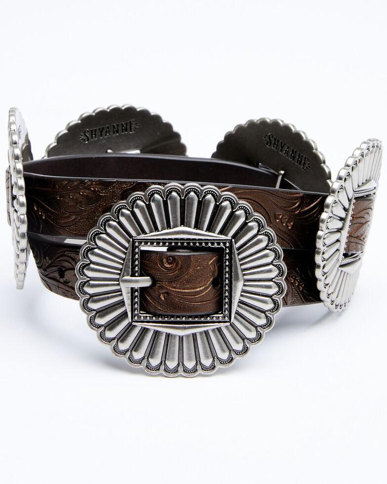 Shyanne Women's Tooled Metallic Concho Belt, Dark Brown, hi-res